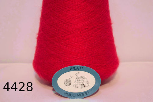 65%mohair, 27%poliammide, 8%lana Kid rosso 4428 50 grammi